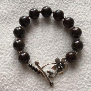 Silpada Brown Bead Toggle-Clasp Bracelet